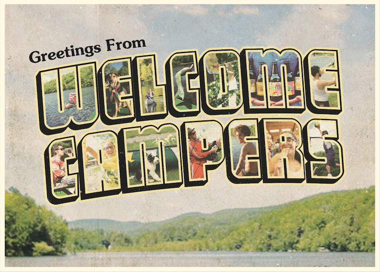 postcard for 'welcome campers'